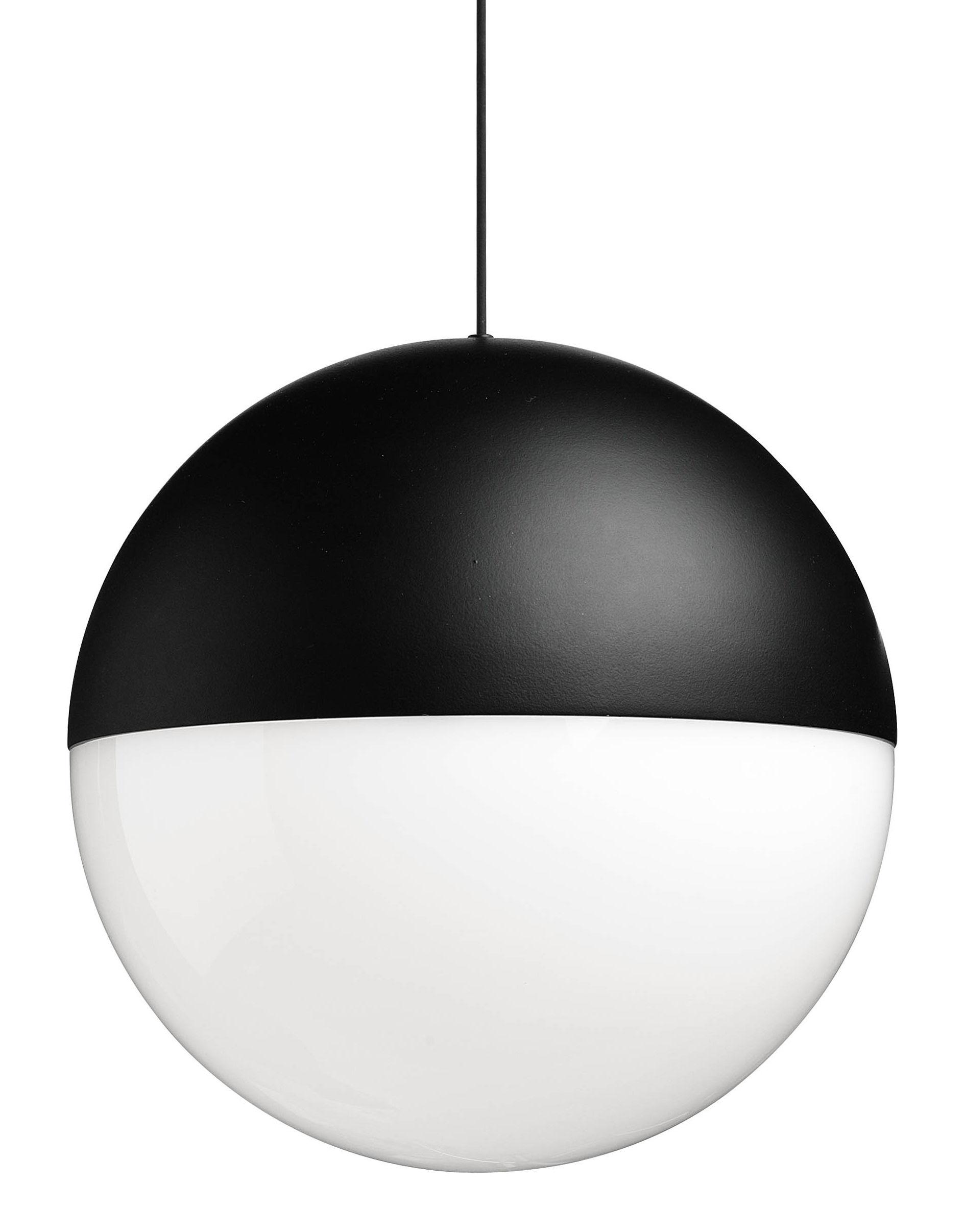 Leuchten - Pendelleuchten - String Light Sphere Pendelleuchte LED / 12 m langes Kabel als Deko-Element - Flos - Hängelampe in Kugelform / Schwarz - bemaltes Aluminium, Gewebe, Polykarbonat