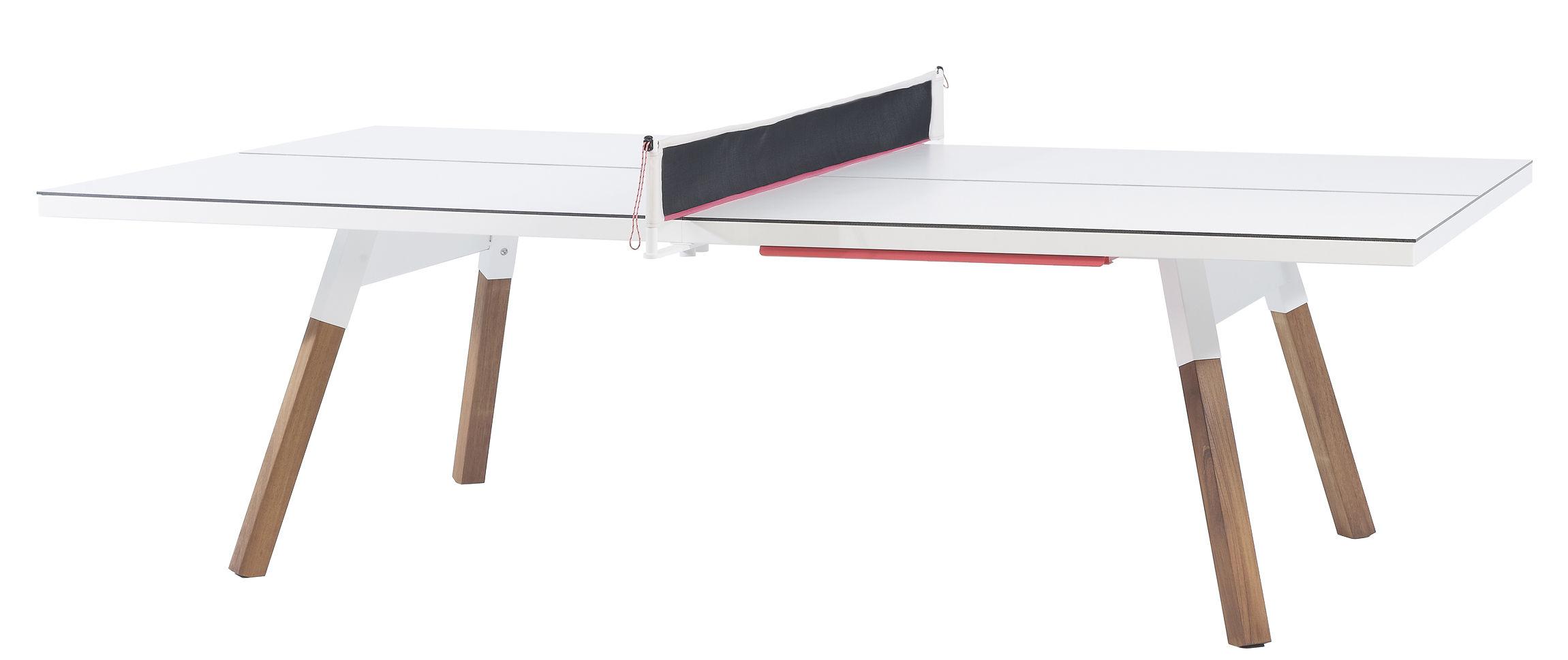 Outdoor - Tische - Y&M rechteckiger Tisch / L 274 cm - Tischtennisplatte und Esstisch - RS BARCELONA - Weiß / Tischgestell holzfarben - HPL, Iroko-Holz, Stahl