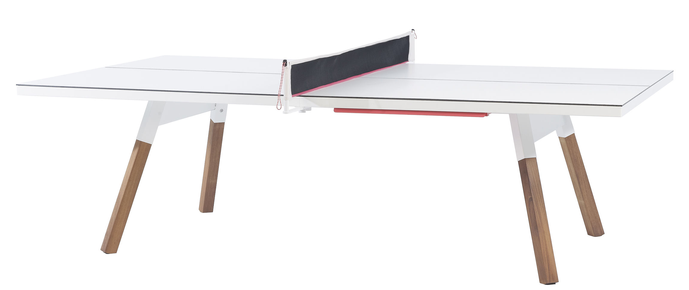Outdoor - Garden Tables - Y&M Table - L 274 cm / Ping pong & dining table by RS BARCELONA - White / Wood legs - HPL, Iroko wood, Steel