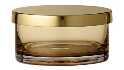 Image of Scatola Tota Small - / Cilindro - Ø 9 x H 4,5 cm di AYTM - Giallo/Marrone/Oro/Metallo - Metallo/Vetro