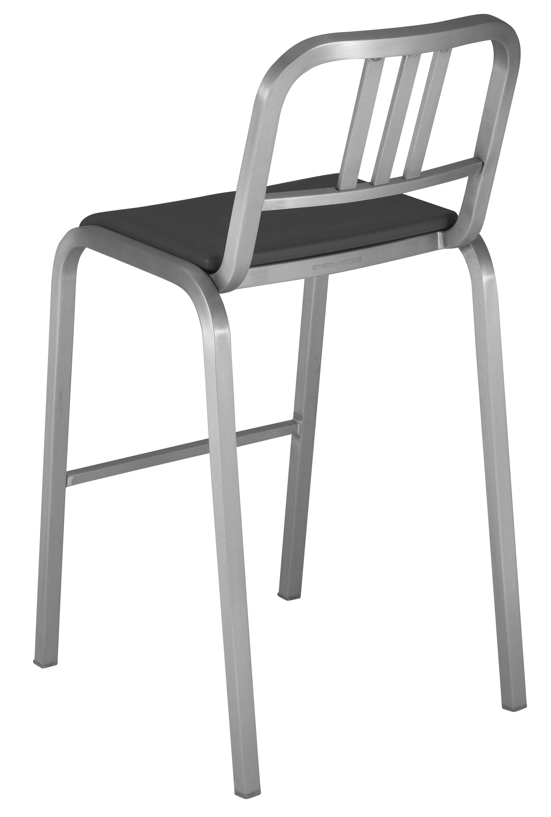 Arredamento - Sgabelli da bar  - Sedia da bar Nine-O - h 75 cm di Emeco - Alluminio opaco / Grigio - Alluminio riciclato, Poliuretano