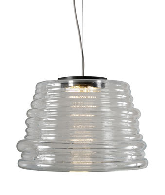 Illuminazione - Lampadari - Sospensione Bibendum LED - / Ø 35 cm - Vetro di Karman - Trasparente - Vetro