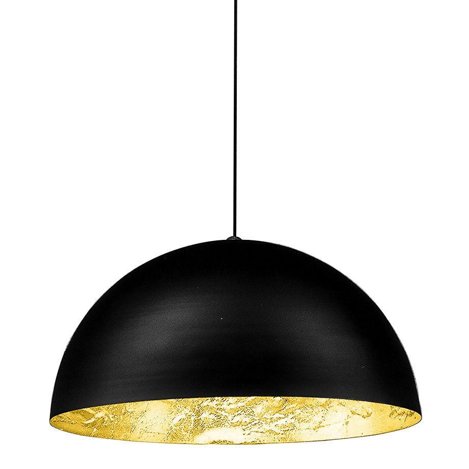Illuminazione - Lampadari - Sospensione Stchu-moon 02 - Ø 40 cm di Catellani & Smith - Esterno nero / Interno oro - Alluminio, Foglio dorato, Schiuma di poliuretano