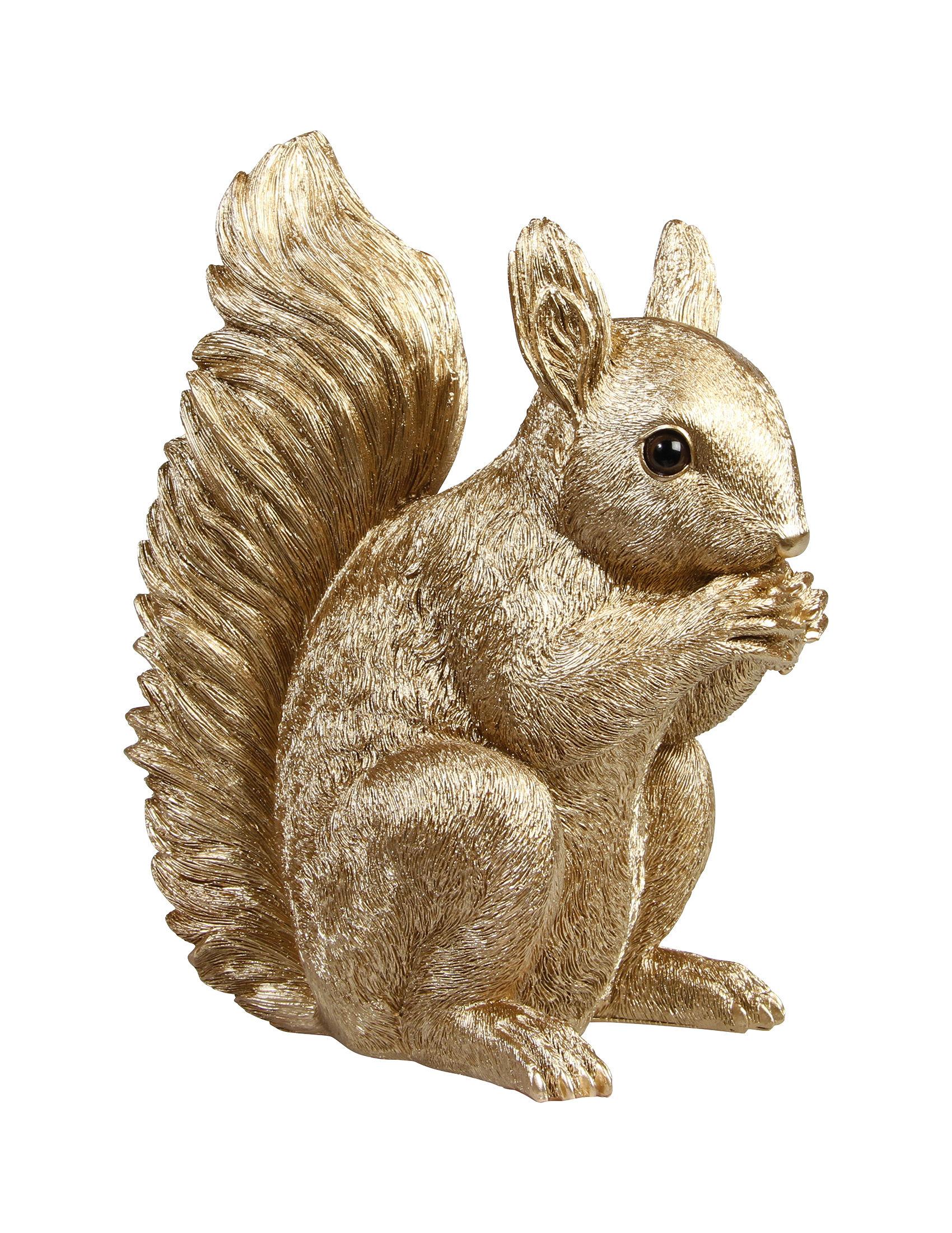 Dekoration - Für Kinder - Sparschwein / Eichhörnchen - H 16 cm - & klevering - Goldfarben - Poly-natur