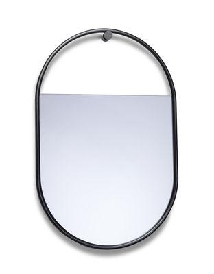 Interni - Specchi - Specchio murale Peek Small - / Ovale - 40 x 60 cm di Northern  - Ovale / nero - Acciaio laccato, Vetro colorato
