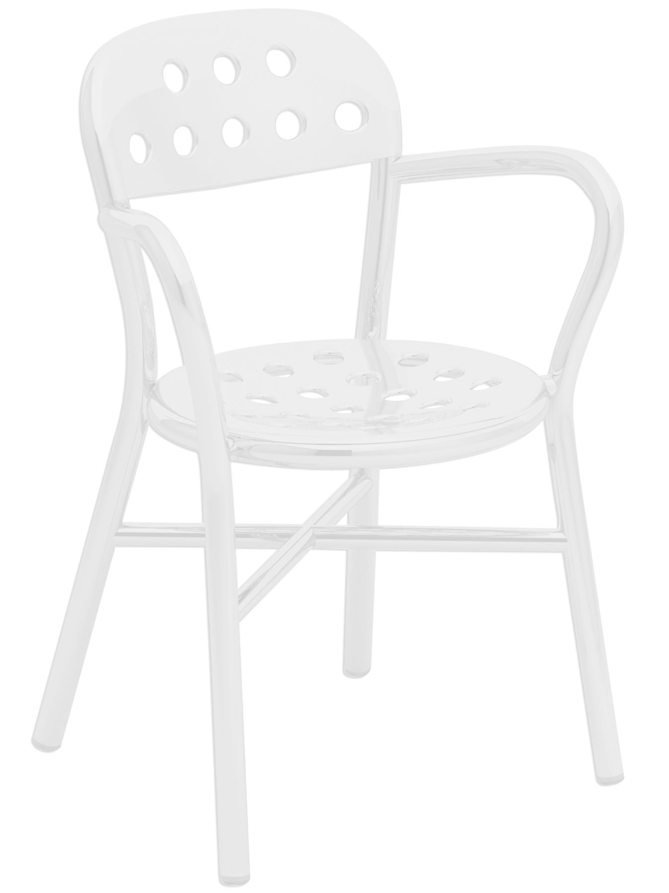 Furniture - Chairs - Pipe Stackable armchair - Metal by Magis - White - Varnished aluminium, Varnished steel