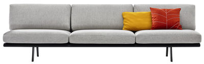 Furniture - Sofas - Zinta Lounge Straight sofa - / 3 seats - L 270 cm by Arper - Light Grey - Structure : Black - Foam, Kvadrat fabric, Metal, Wood