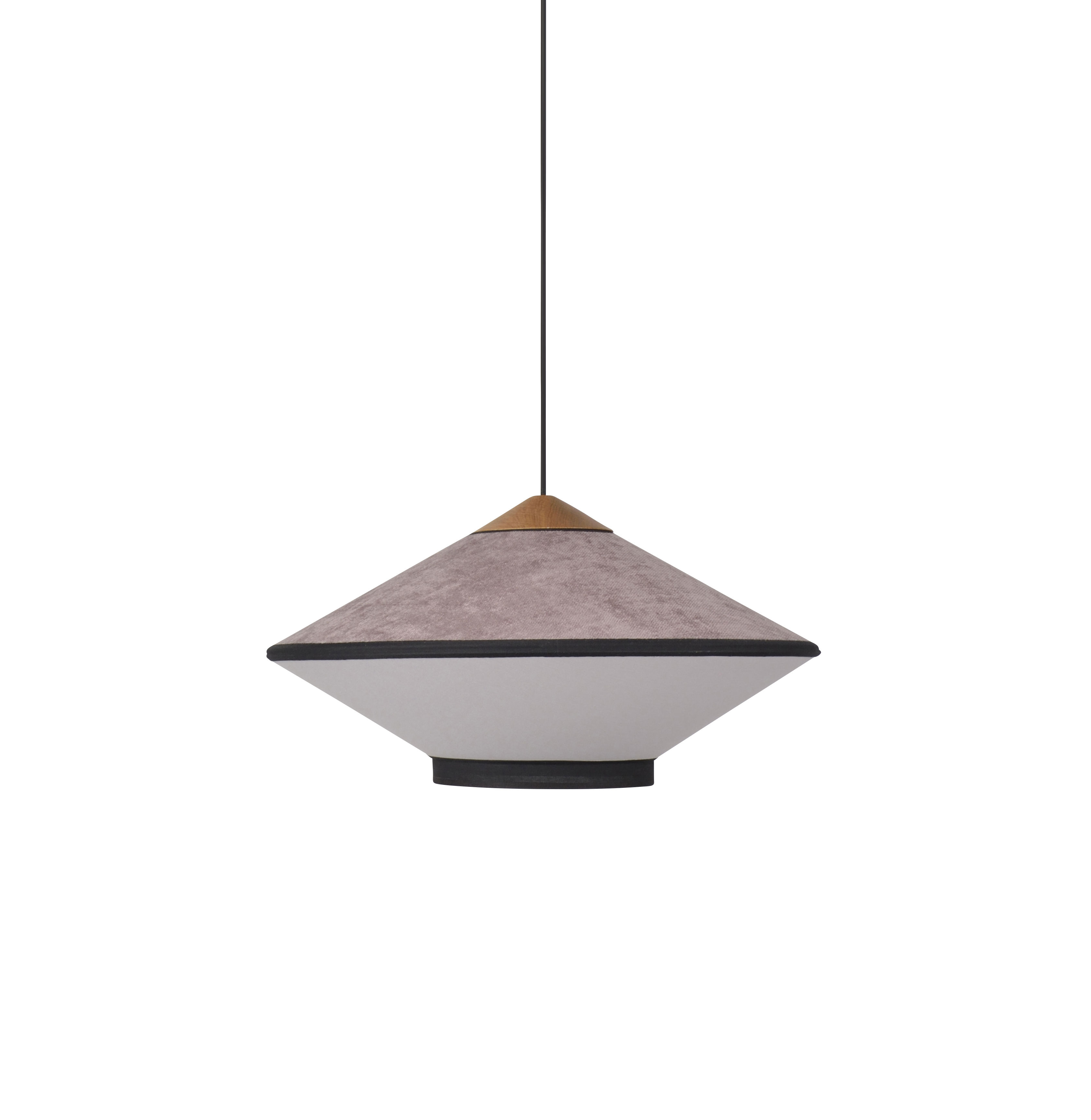 Luminaire - Suspensions - Suspension Cymbal Small / Ø 50 - Velours - Forestier - Rose Poudré - Chêne, Tissu, Velours