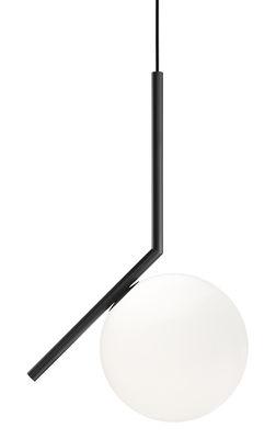 Suspension IC S1 / H 48,2 cm - Flos blanc/noir en métal/verre