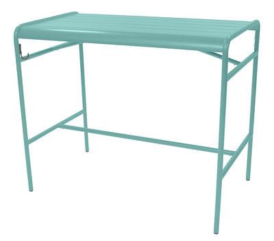 Table haute Luxembourg / 4 personnes - 126 x 73 cm - Aluminium - Fermob bleu lagune en métal
