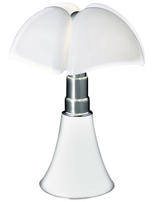 Lighting - Table Lamps - Pipistrello Table lamp - / H 66 to 86 cm by Martinelli Luce - White / White lampshade - Galvanized steel, Lacquered aluminium, Opal methacrylate
