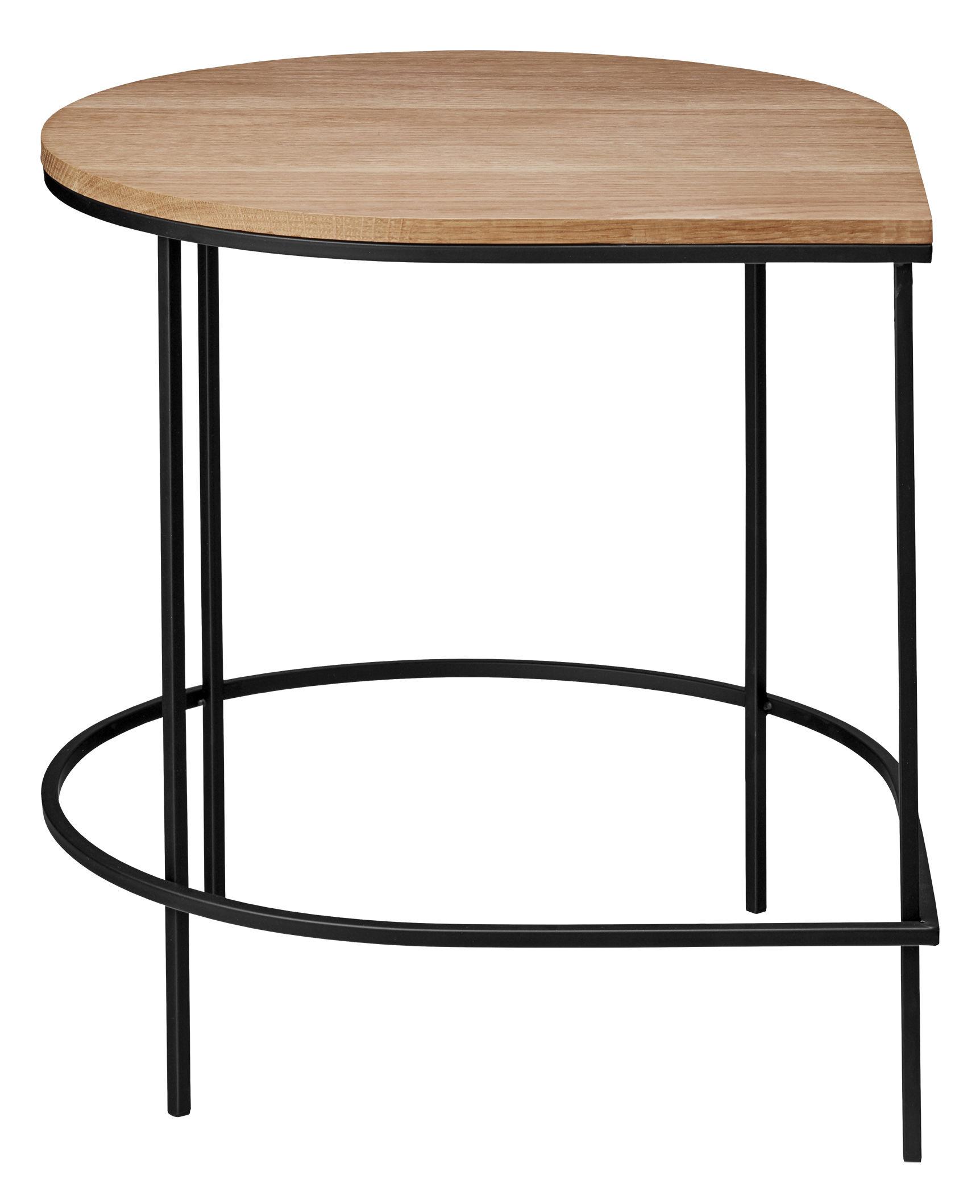 Arredamento - Tavolini  - Tavolino d'appoggio Stilla - / Top rovere - H 50 cm di AYTM - Rovere naturale / Gamba nera - Ferro dipinto, Rovere oliato