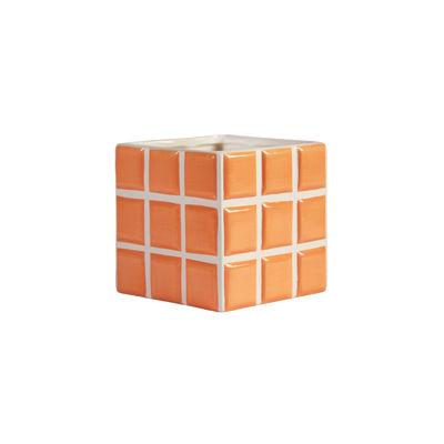 Interni - Vasi e Piante - Vaso per fiori Tile Small - / 10.5 x 10.5 x 10 cm di & klevering - Pesca - Ceramica