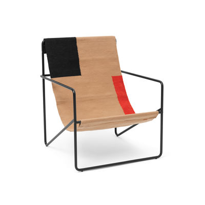 Furniture - Armchairs - Desert Armchair - / Black base - Recycled plastic bottles by Ferm Living - Black metal / Block fabric - Powder coated steel, Recycled fabric