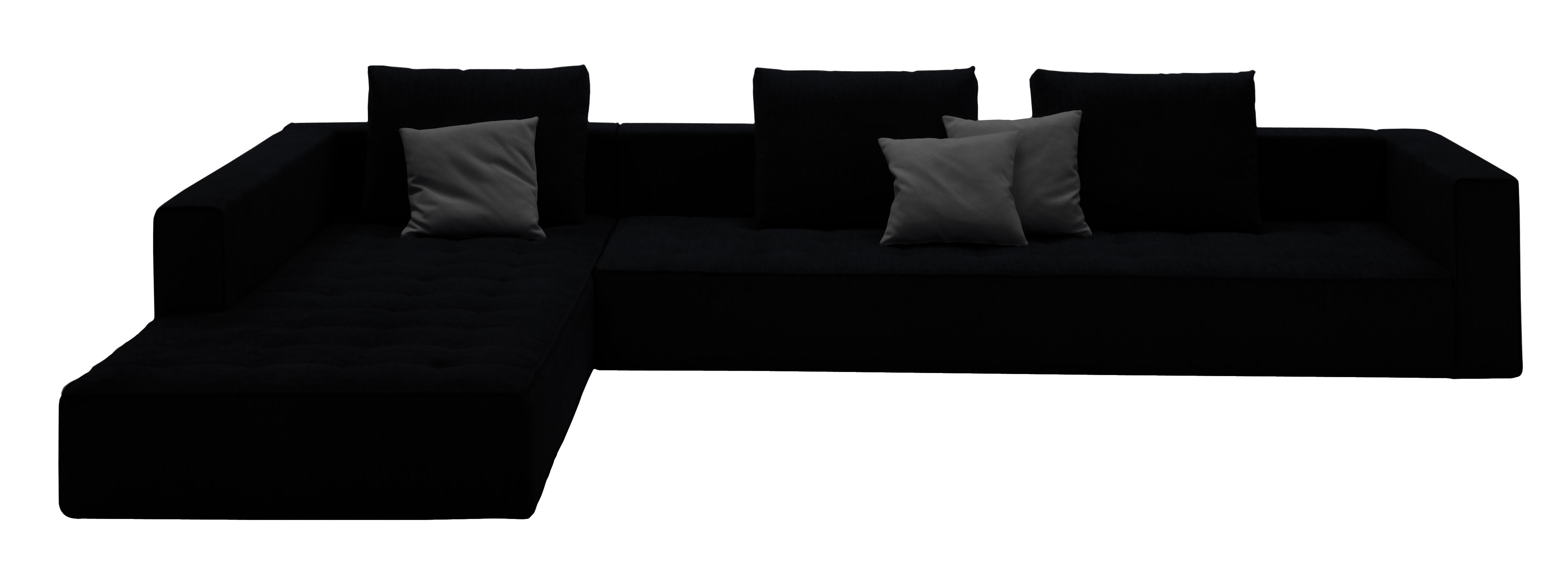 Mobilier - Canapés - Canapé d'angle Kilt / cuir - L 300 cm - Zanotta - Cuir - Noir - Cuir