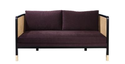 Canapé droit Cannage / L 160 cm - Tissu - RED Edition noir,prune,naturel,laiton en tissu