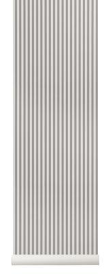Carta da parati Thin Lines - / 1 rotolo - Larg 53 cm di Ferm Living - Grigio,Beige - Carta