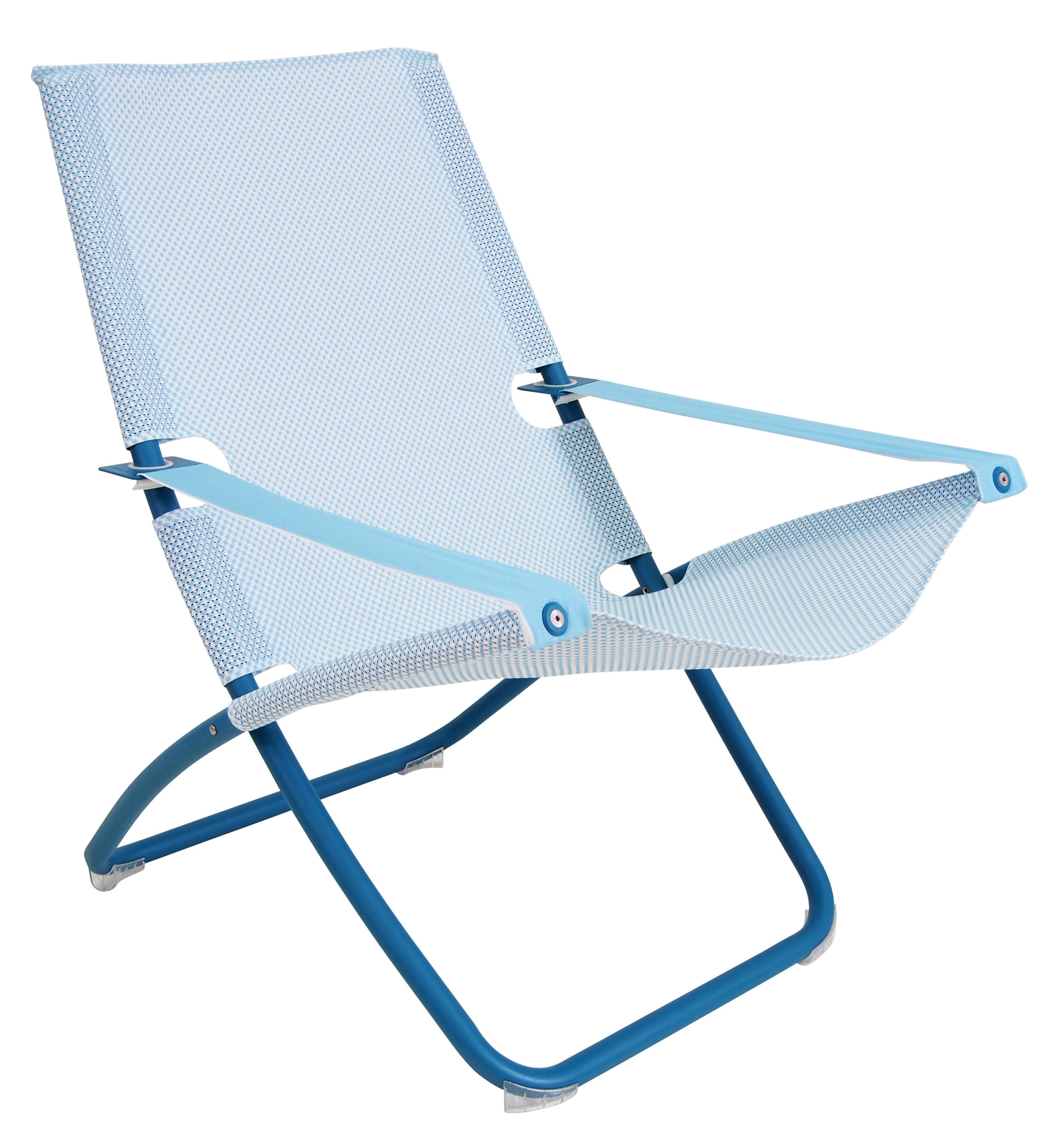 Outdoor - Sedie e Amache - Chaise longue Snooze - Emu - Blu - Acciaio verniciato, Tissu technique