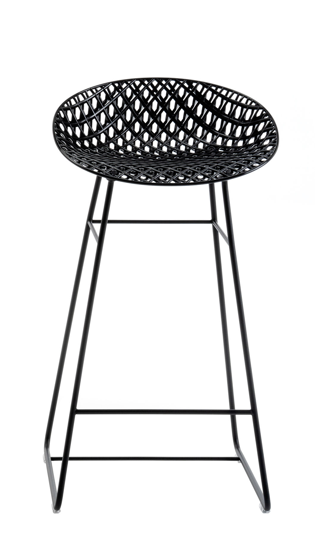 Furniture - Bar Stools - Smatrik High stool - / Outdoor - H 65 cm by Kartell - Black - Lacquered stainless steel, Polycarbonate