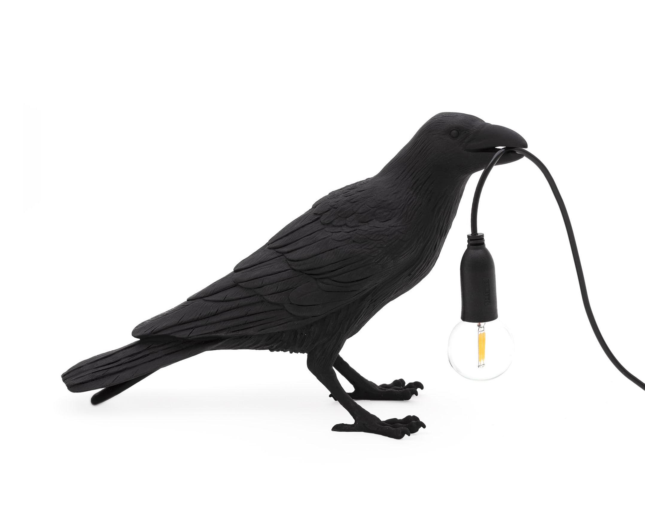 Illuminazione - Lampade da tavolo - Lampada da tavolo Bird Waiting - / Corvo immobile di Seletti - Corvo immobile / Nero - Resina