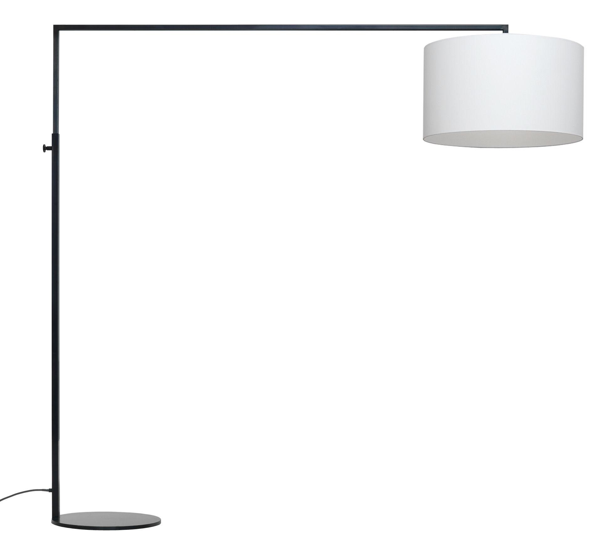 Luminaire - Lampadaires - Lampadaire High Noon - H 163 à 220 cm - Zeitraum - Abat-jour blanc / structure noir mat - Fer laqué, Tissu