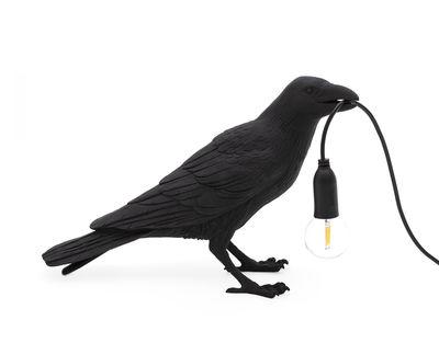Lampe de table Bird Waiting / Corbeau immobile - Seletti noir en matière plastique