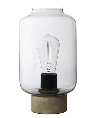 Luminaire - Lampes de table - Lampe de table Column / H 27 cm - Frandsen - Béton / Fumé transparent - Béton, Verre