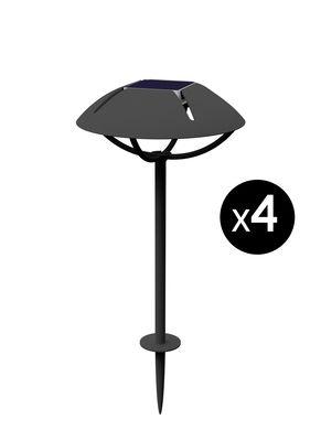 Luminaire - Luminaires d'extérieur - Lampe solaire Parabole LED / Dock USB - à planter - Lot de 4 - Maiori - Charbon - Aluminium laqué