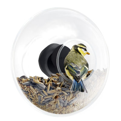 Mangeoire à oiseaux Small / Pour fenêtre - Ø 14 cm - Eva Solo noir,transparent,inox en verre
