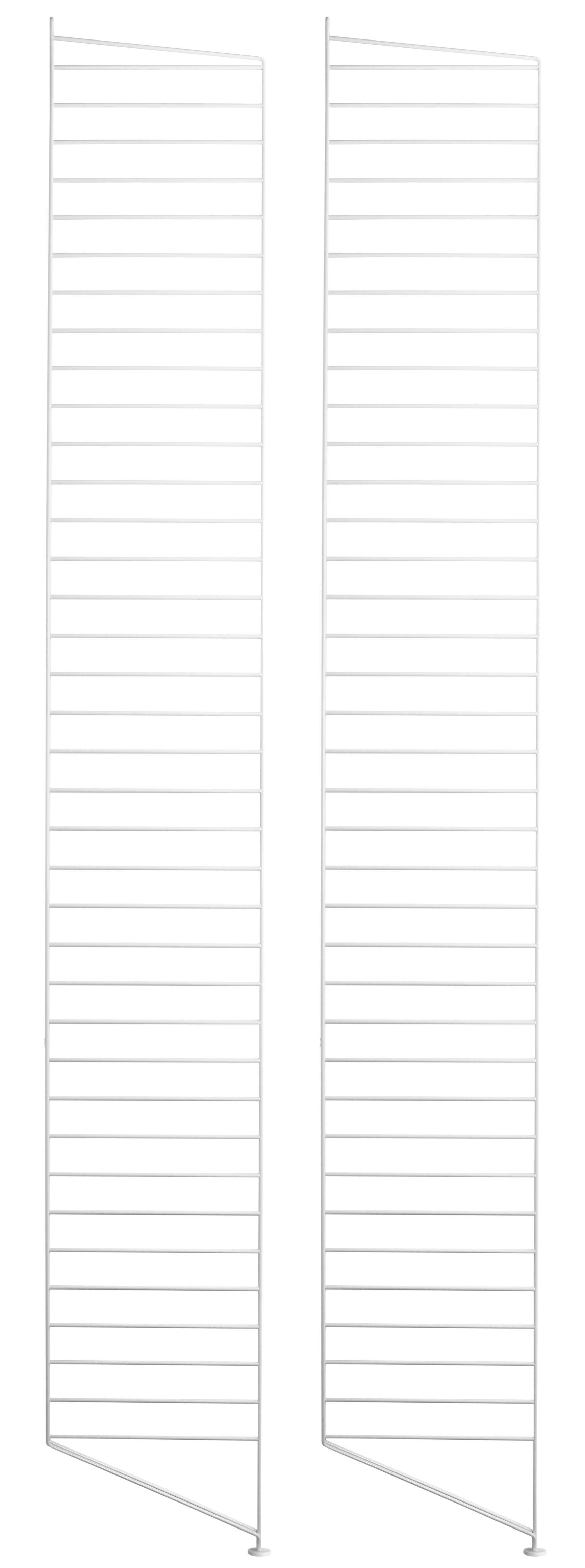 Mobilier - Etagères & bibliothèques - Montant de sol String system / H 200 x P 30 cm - Set de 2 - String Furniture - Blanc - Acier laqué