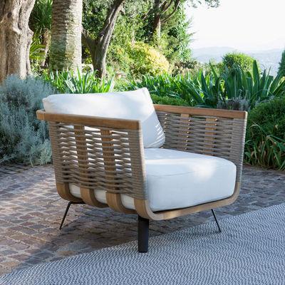 Furniture - Armchairs - Welcome Padded armchair - / Teak & rope by Unopiu - Teak & rope - Acrylic fabric, Aluminium, Foam, Polyolefin synthetic fibre, Teak