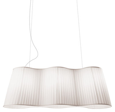 Lighting - Pendant Lighting - La Suspension Pendant - L 124 cm by Dix Heures Dix - White - Polyester fabric, Steel wire