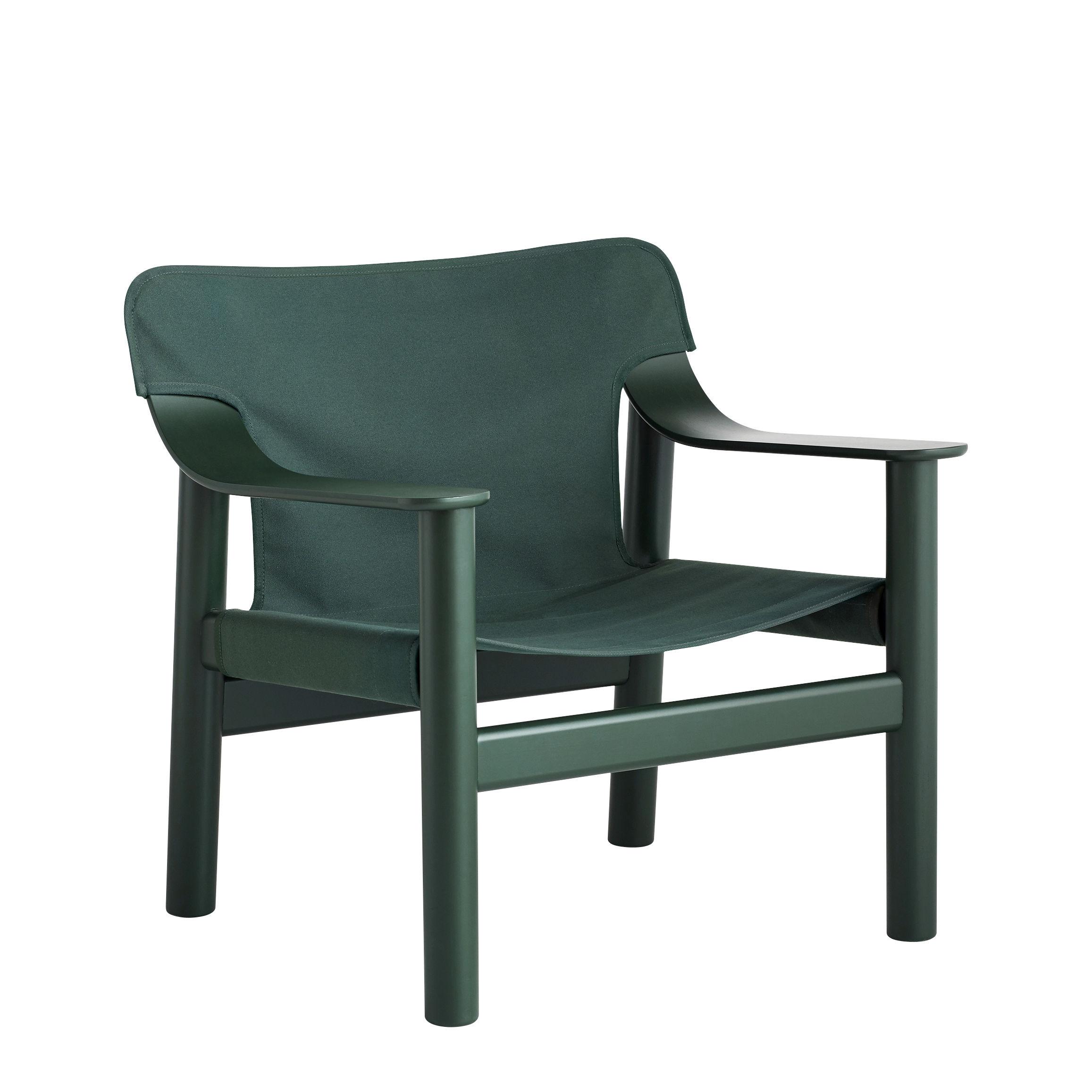 Arredamento - Poltrone design  - Poltrona bassa Bernard - / Tessuto di Hay - Verde / Legno verde - Compensato di faggio sagomato laccato, Faggio massello laccato, Tela in cotone