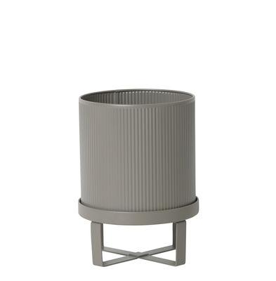 Jardin - Pots et plantes - Pot de fleurs Bau Small / Ø 18 cm - Métal - Ferm Living - Gris chaud - Acier galvanisé