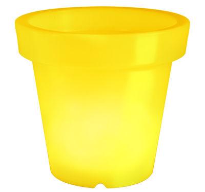 Pot de fleurs lumineux Bloom / H 40 cm - Bloom! jaune en matière plastique