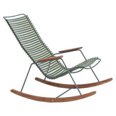 Furniture - Armchairs - Click Rocking chair - / Plastic & bamboo by Houe - Olive Green - Bamboo, Metal, Plastic material