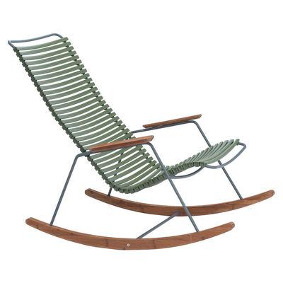 Arredamento - Poltrone design  - Rocking chair Click - / Plastica & Bambù di Houe - Verde Oliva - Bambù, Materiale plastico, Metallo