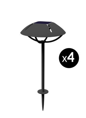 Lighting - Outdoor Lighting - Parabole LED Solar lamp - / to be planted - Set of 4 by Maiori - Coal - Lacquered aluminium
