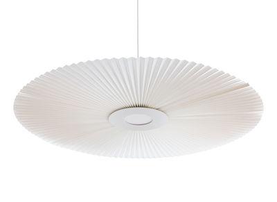 Illuminazione - Lampadari - Sospensione Carmen Large - / LED - Ø 128 cm - Tessuto plissettato di Hartô - Bianco - metallo laccato, Tessuto plissettato