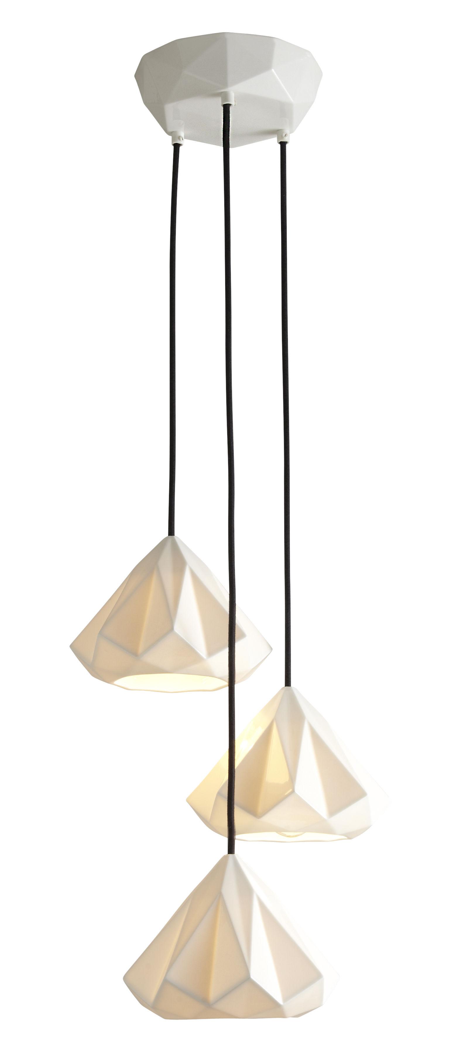Illuminazione - Lampadari - Sospensione Hatton 1 - / Set 3 paralumi - Porcellana di Original BTC - Porcellana bianca - Porcellana