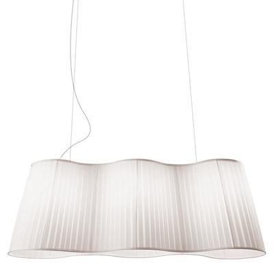 Illuminazione - Lampadari - Sospensione La Suspension - L 124 cm di Dix Heures Dix - Bianco - Filo d'acciaio, Tessuto poliestere