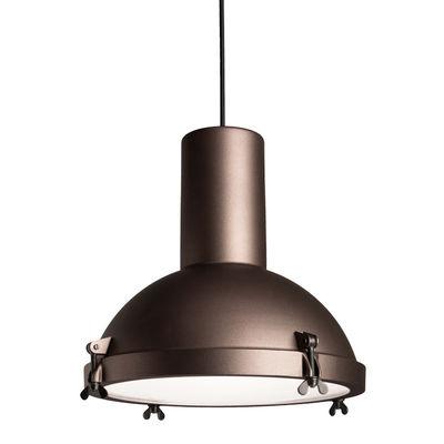 Illuminazione - Lampadari - Sospensione Projecteur 365 OUTDOOR - / Ø 37 cm - Le Corbusier, Riedizione 1954 di Nemo - Mocha - alluminio verniciato, Vetro opalino