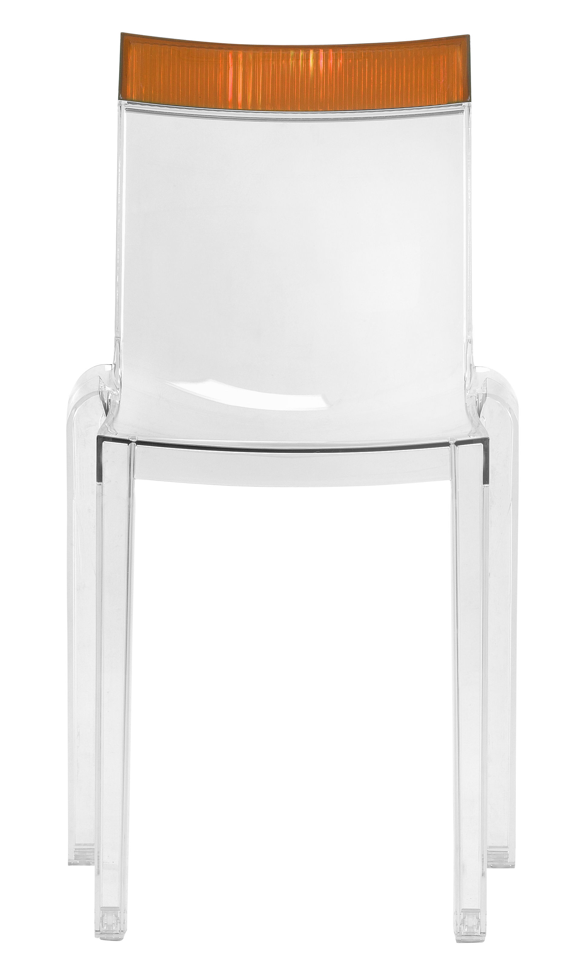 Furniture - Chairs - Hi Cut Stacking chair - Transparent polycarbonate by Kartell - Cristal / orange - Polycarbonate