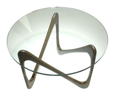 Table basse Moebius - Objekto transparent,chêne teinté noyer en verre