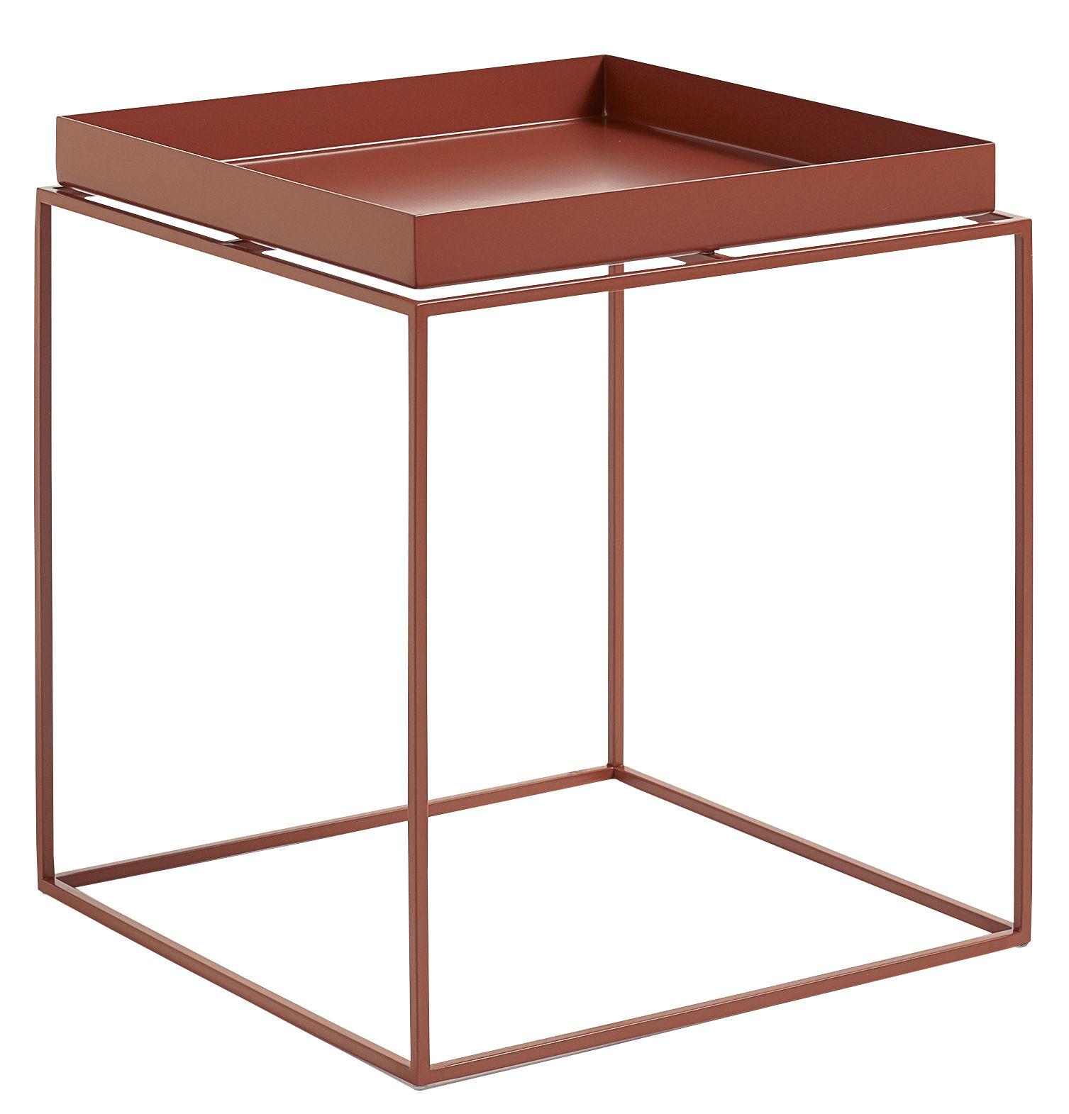 Mobilier - Tables basses - Table basse Tray H 40 cm / 40 x 40 cm - Carré - Hay - Rouge - Acier laqué