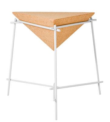 Mobilier - Tables basses - Table d'appoint Basil / Pyramide - Petite Friture - Liège naturel / Structure blanche - Acier peint, Liège