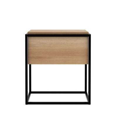 Mobilier - Tables basses - Table de chevet Monolit / Chêne massif & métal - 1 tiroir - Ethnicraft - Chêne & noir - Chêne massif certfié FSC, Métal verni