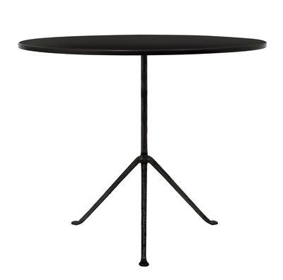 Outdoor - Tables de jardin - Table ronde Officina Outdoor / Ø 80 cm - Plateau acier - Magis - Acier noir / Pieds noirs - Acier, Fer