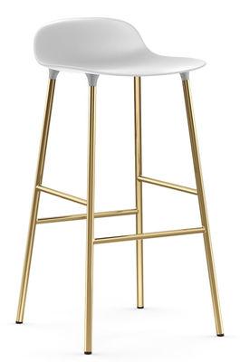 Tabouret de bar Form / H 75 cm - Pied laiton - Normann Copenhagen blanc,laiton en métal