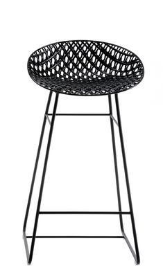 Tabouret haut Smatrik / Outdoor - H 65 cm - Kartell noir en matière plastique